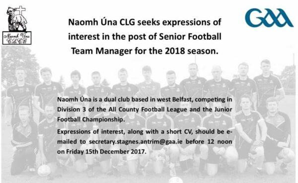St Agnes seek a Senior Football Team manager