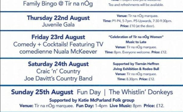 Tir na nOg are hosting a marquee weekend ..